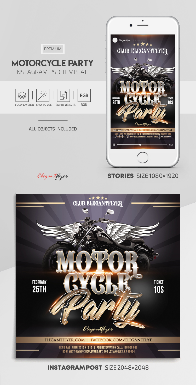 Motorcycle Party – Instagram Stories Template in PSD + Post Templates
