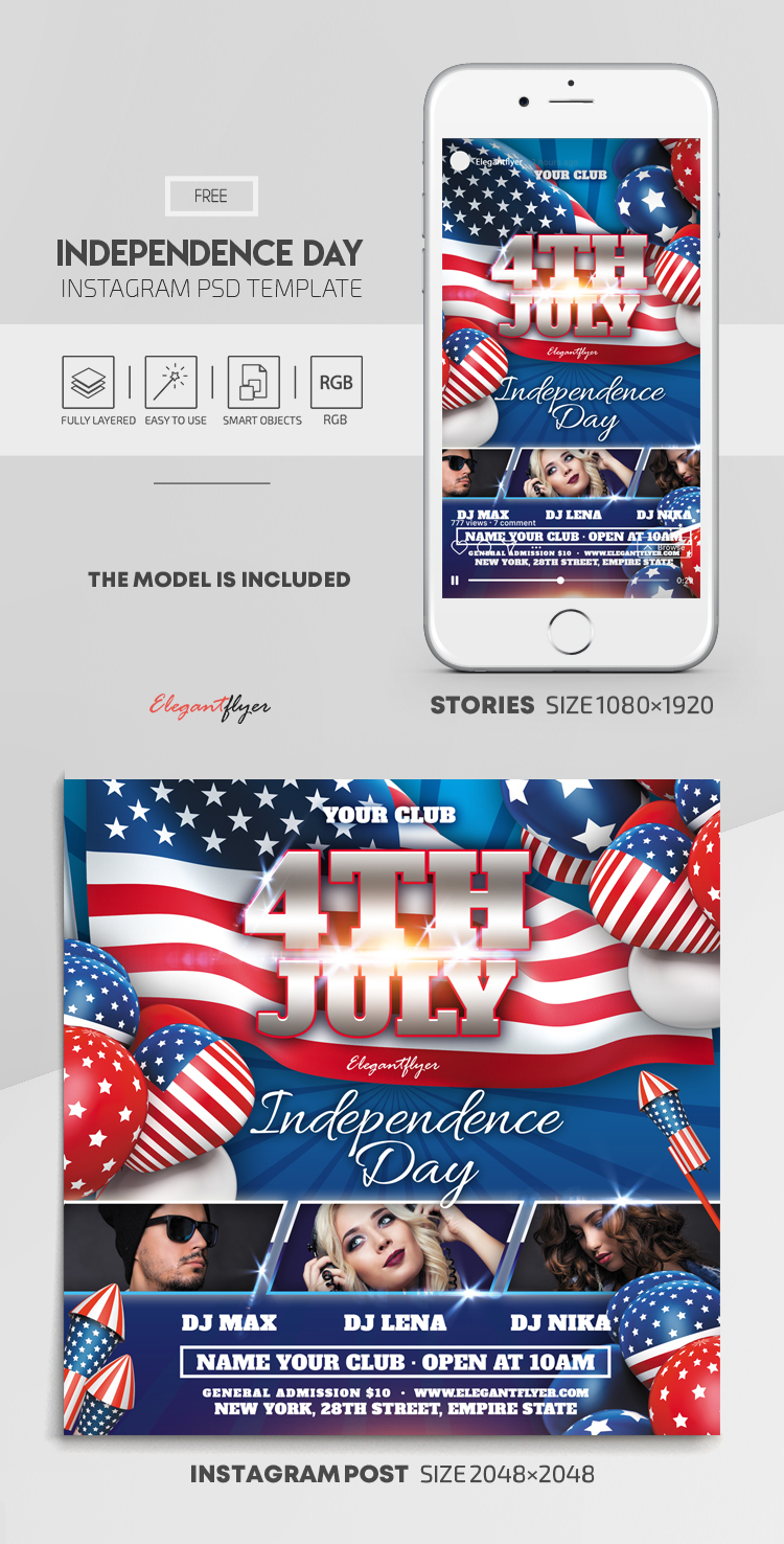 Independence Day – Free Instagram Stories Template in PSD + Post Templates