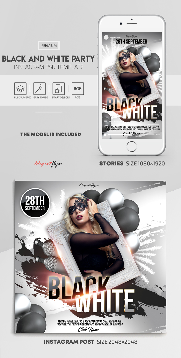 Black and White Party – Instagram Stories Template in PSD + Post Templates