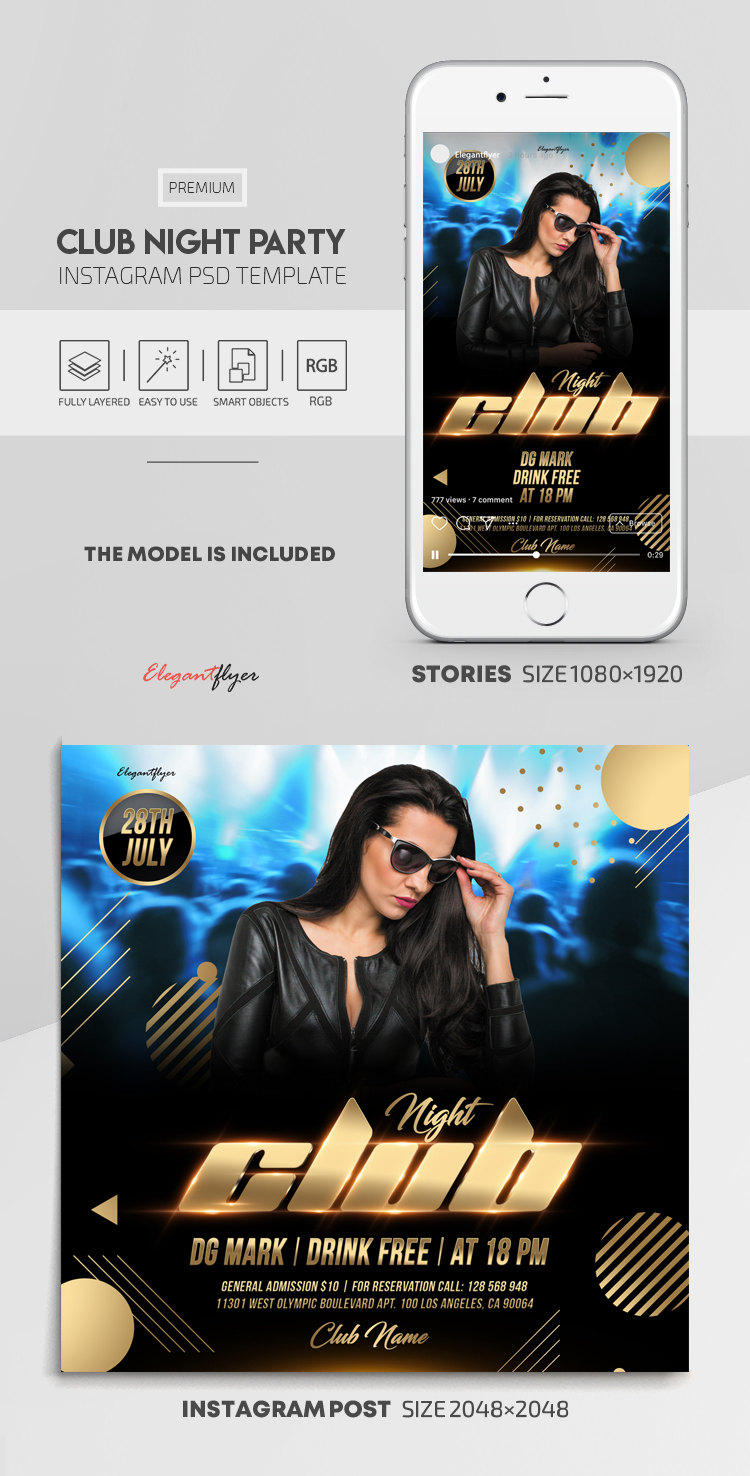 Club Night Party – Instagram Stories Template in PSD + Post Templates