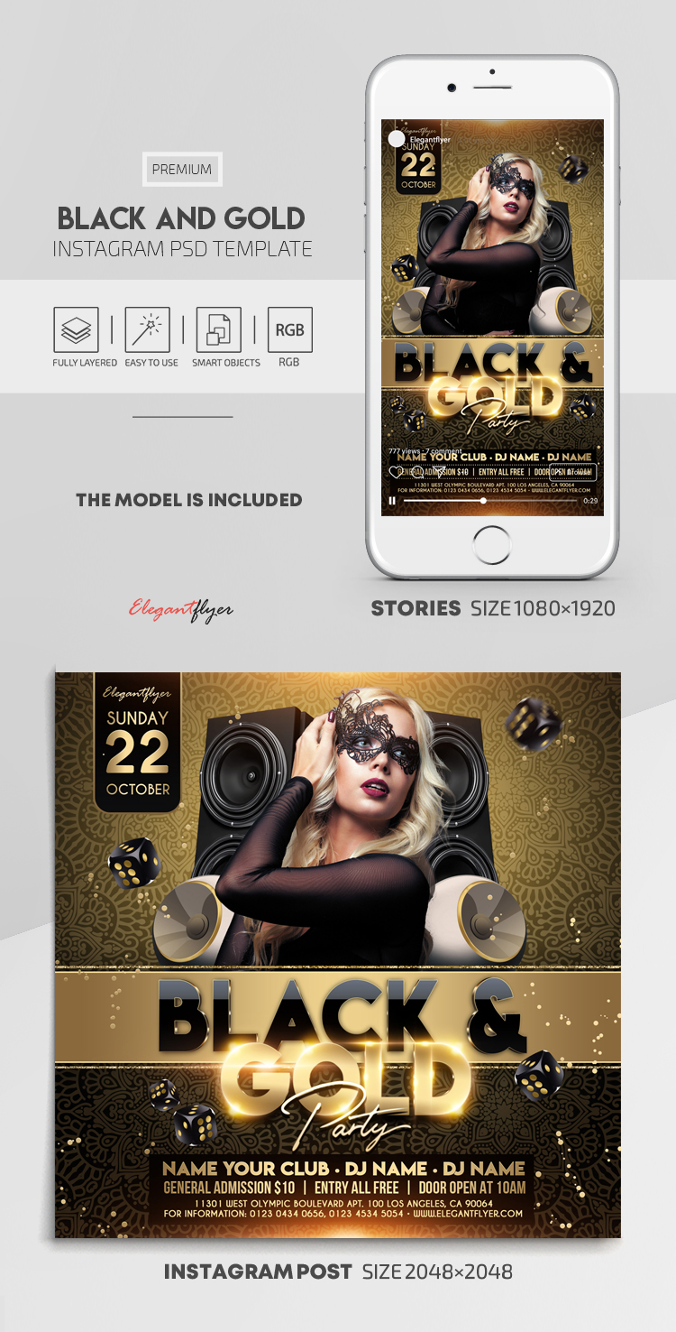 Black and Gold – Instagram Stories Template in PSD + Post Templates