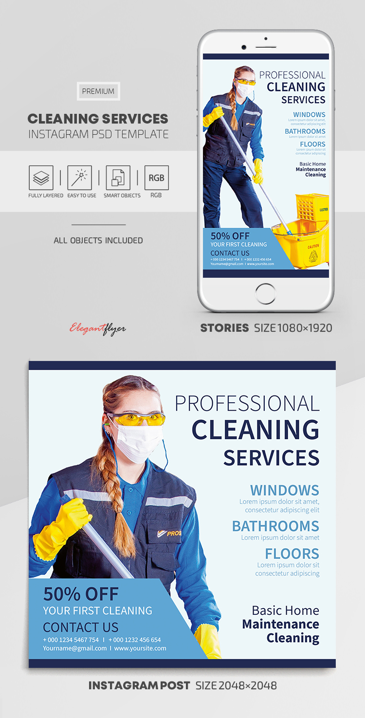 Cleaning Services – Instagram Stories Template in PSD + Post Templates