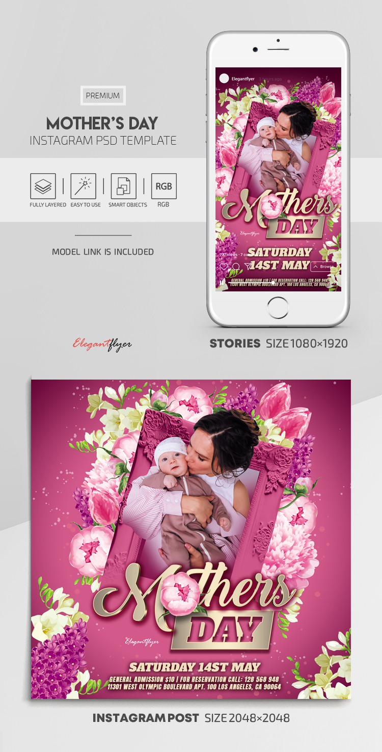 Mother's Day – Instagram Stories Template in PSD + Post Templates
