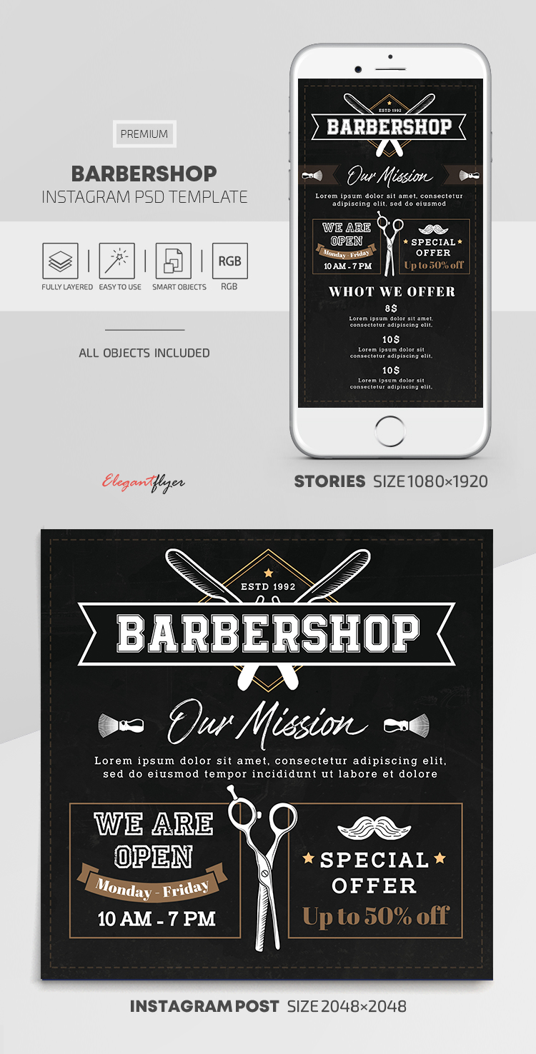 Barbershop – Instagram Stories Template in PSD + Post Templates