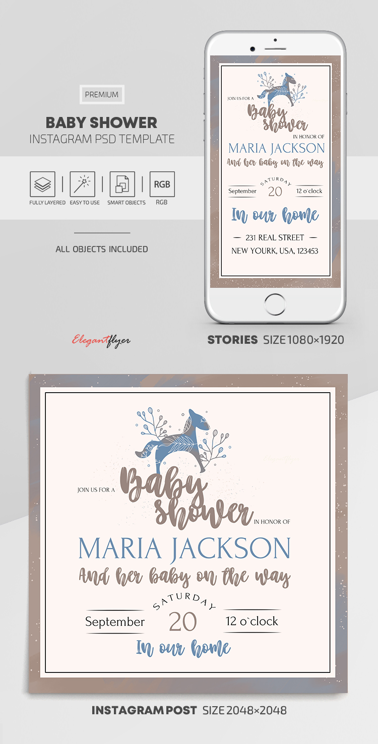 Baby Shower – Instagram Stories Template in PSD + Post Templates