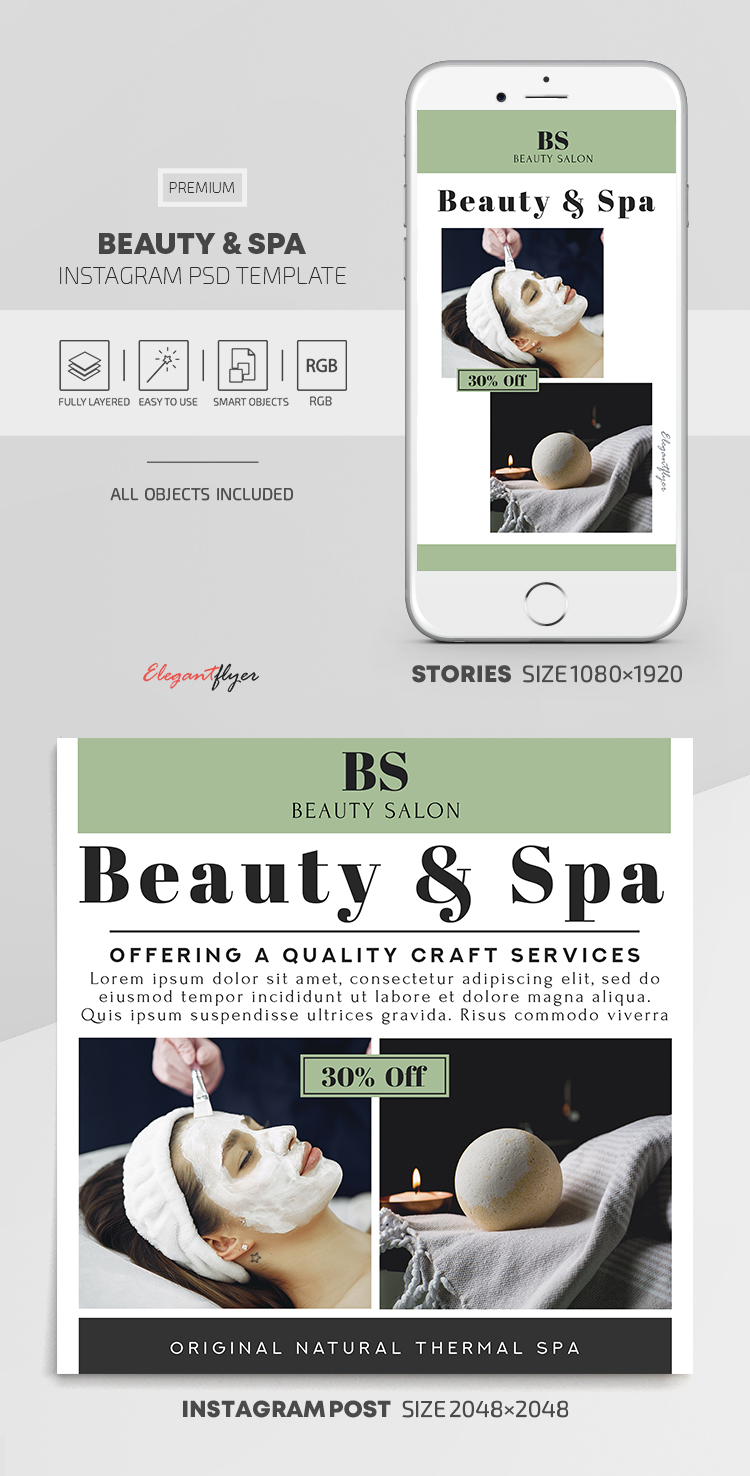 Beauty and Spa – Instagram Stories Template in PSD + Post Templates