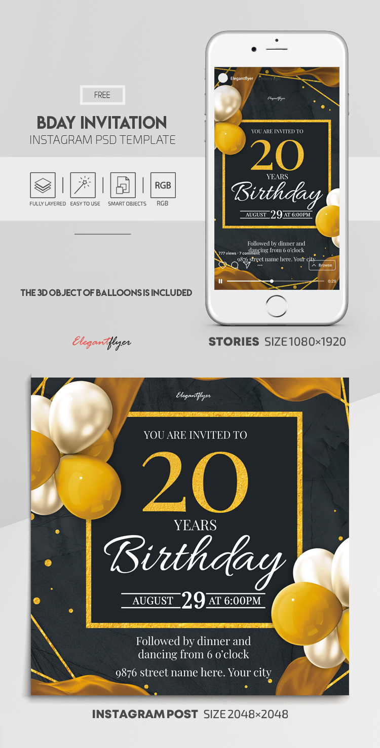 Bday Invitation – Free Instagram Stories Template in PSD + Post Templates