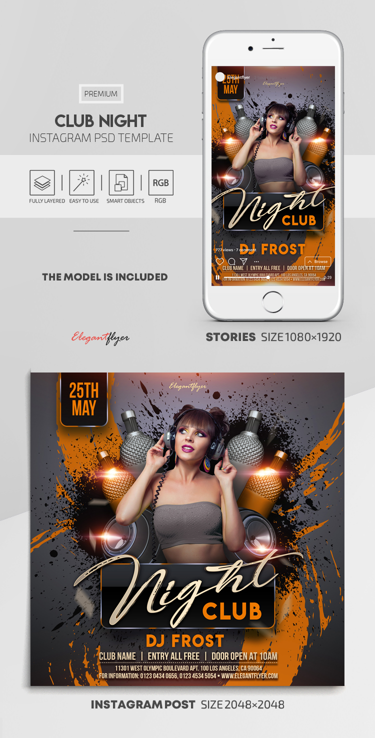 Club Night – Instagram Stories Template in PSD + Post Templates