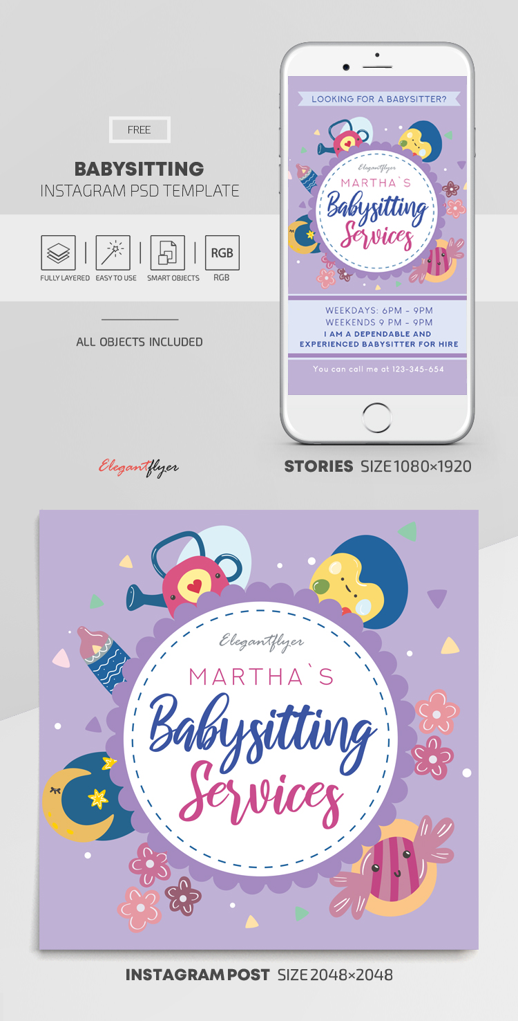 Babysitting – Free Instagram Stories Template in PSD + Post Templates