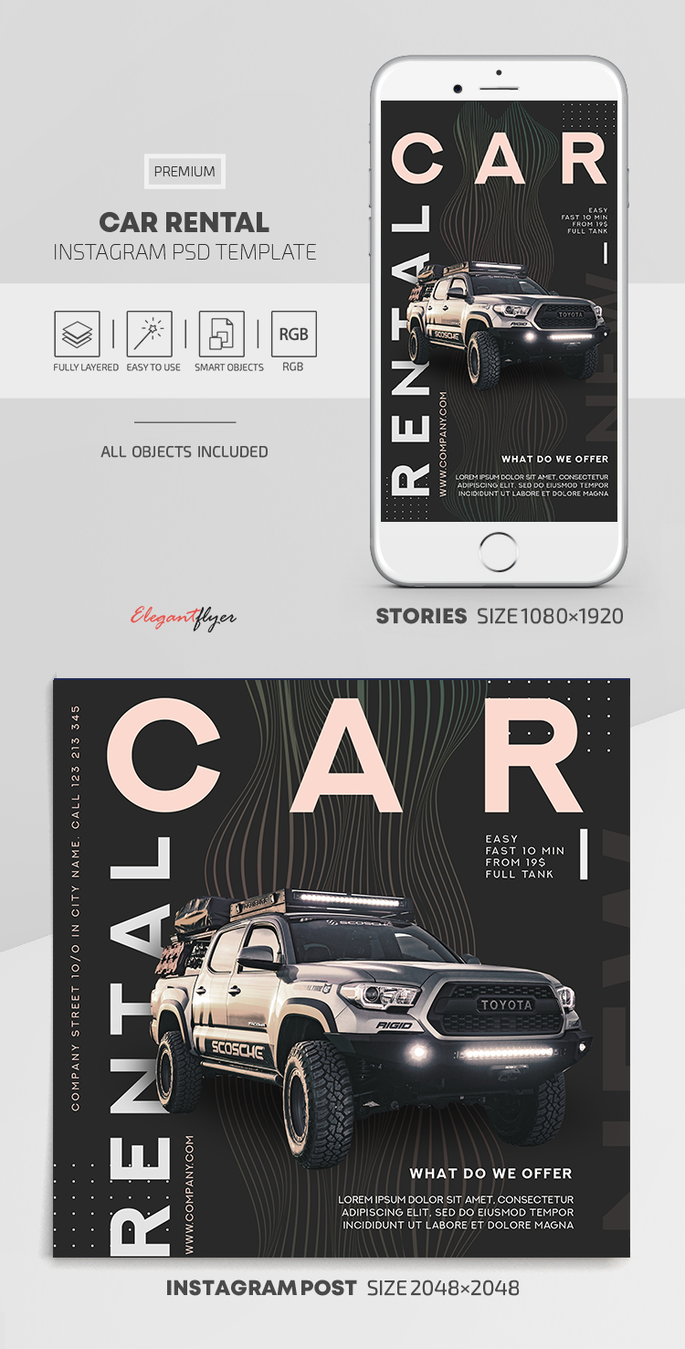 Car Rental – Instagram Stories Template in PSD + Post Templates