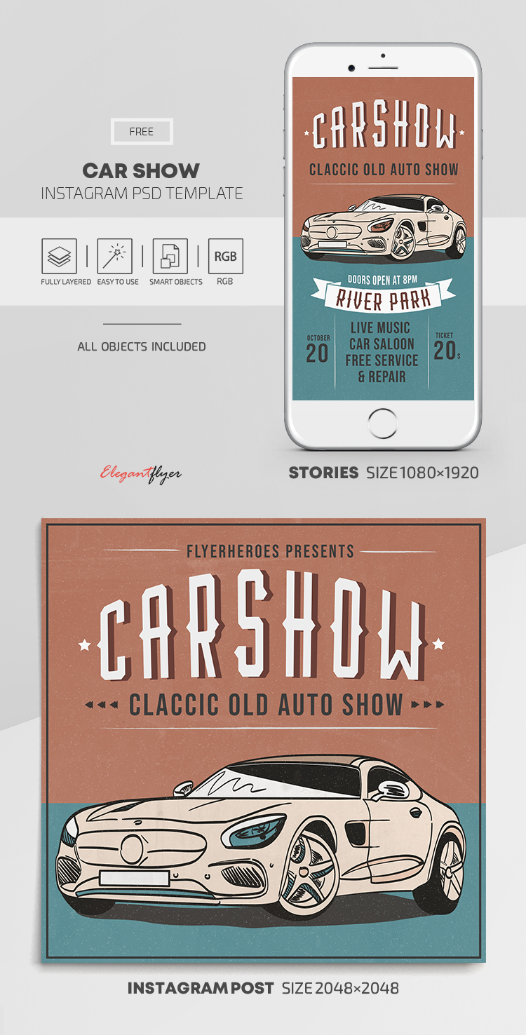 Car Show – Free Instagram Stories Template in PSD + Post Templates