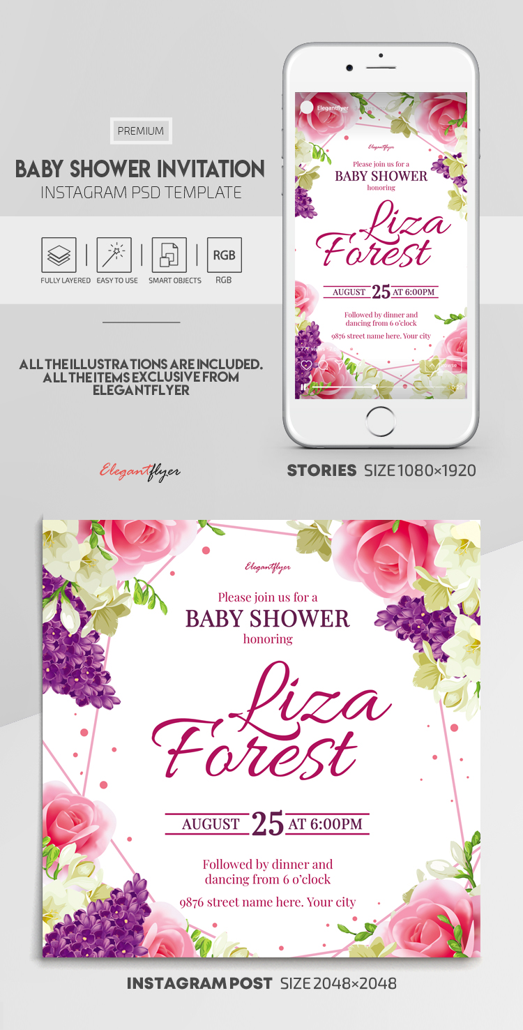 Baby Shower Invitation – Instagram Stories Template in PSD + Post Templates