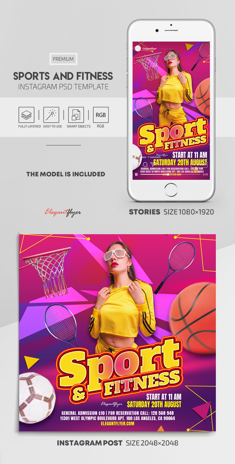 Sports And Fitness – Instagram Stories Template in PSD + Post Templates