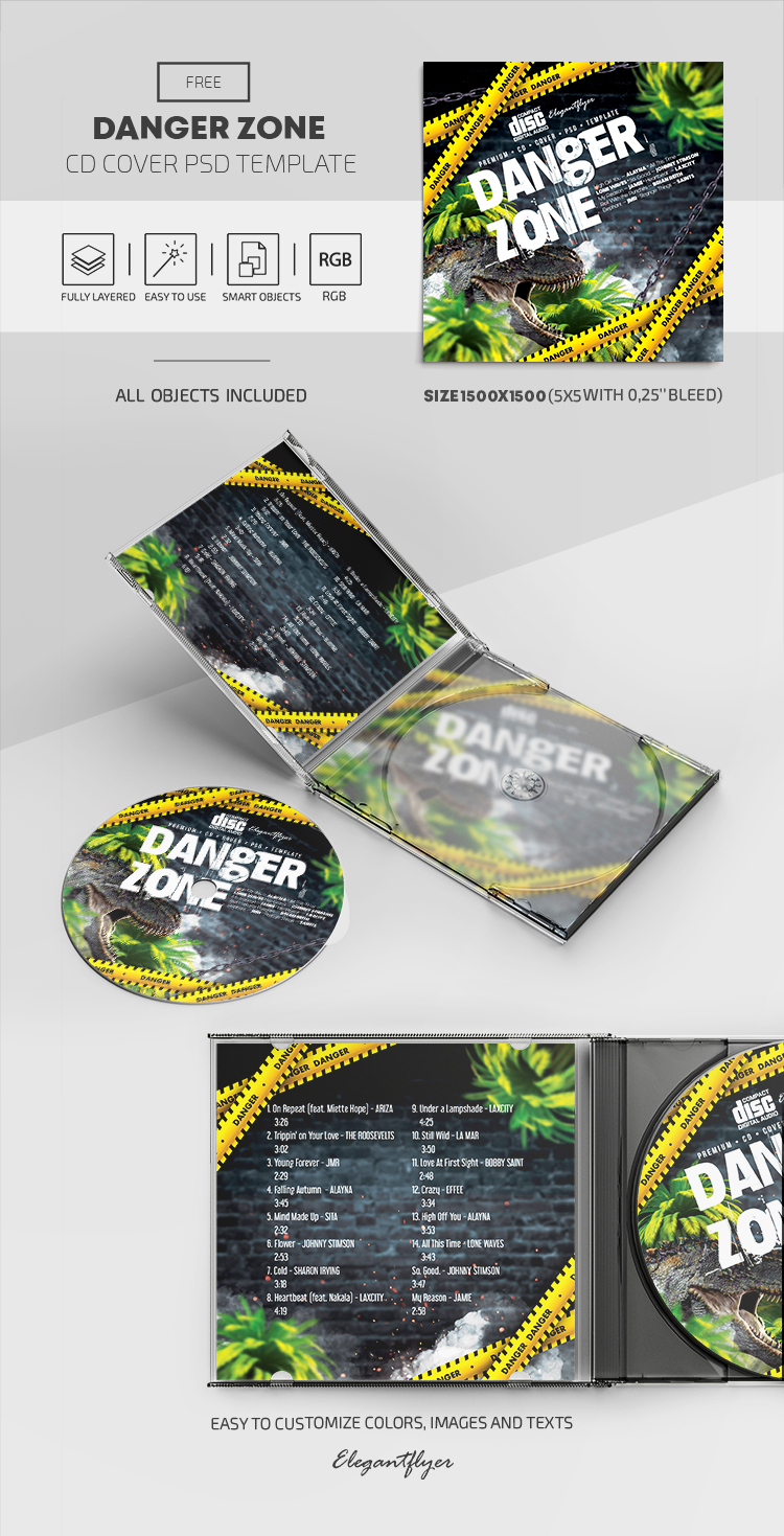 Danger Zone – Free CD Cover PSD Template