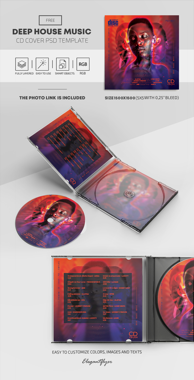 Deep House Music – Free CD Cover PSD Template