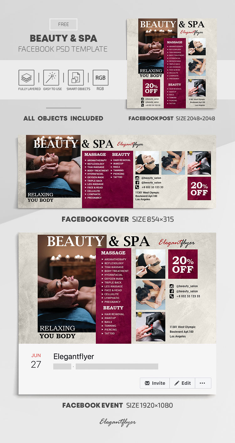 Beauty and Spa – Free Facebook Cover Template in PSD + Post + Event cover