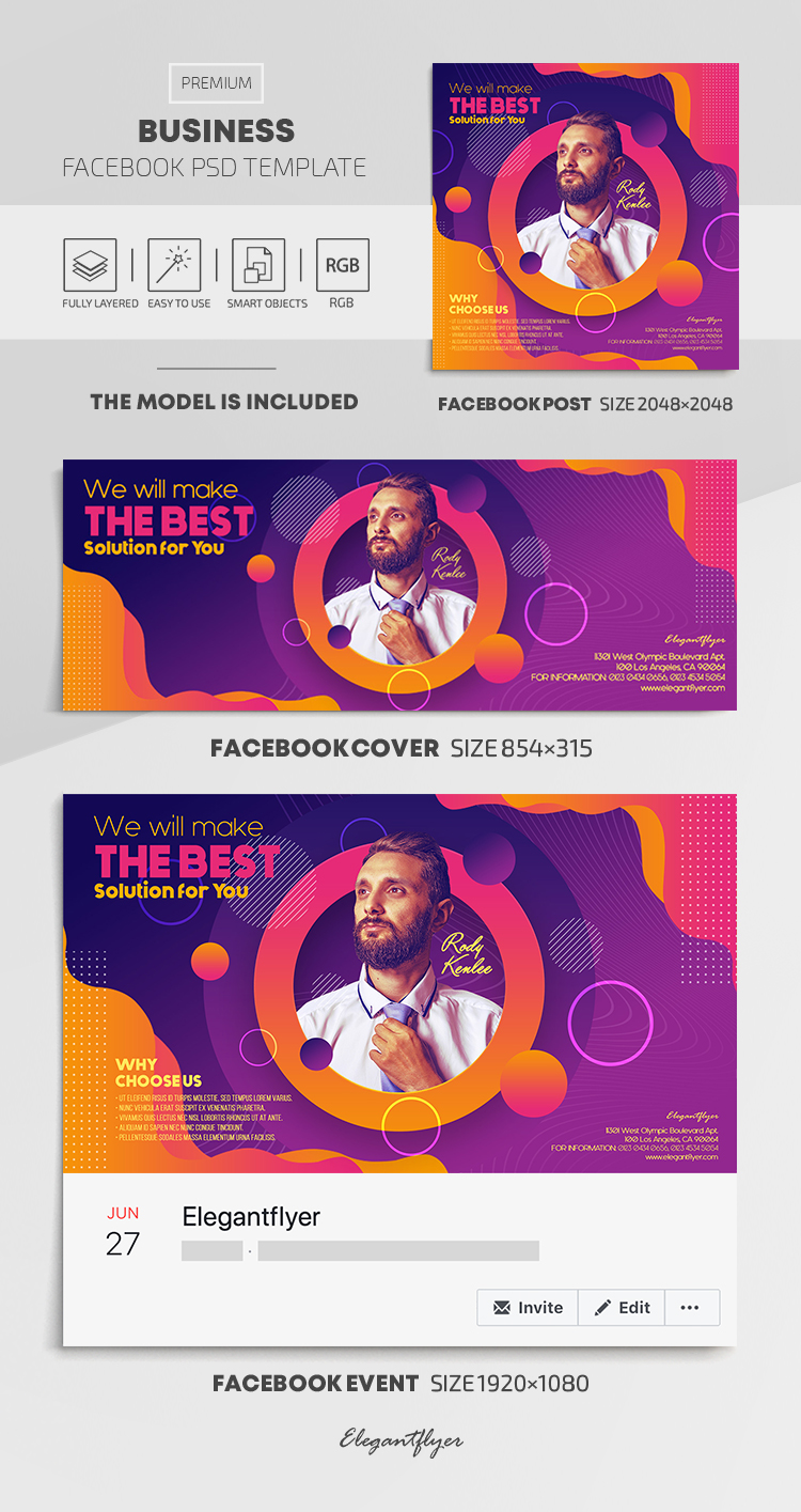 Business – Facebook Cover Template in PSD + Post + Event cover