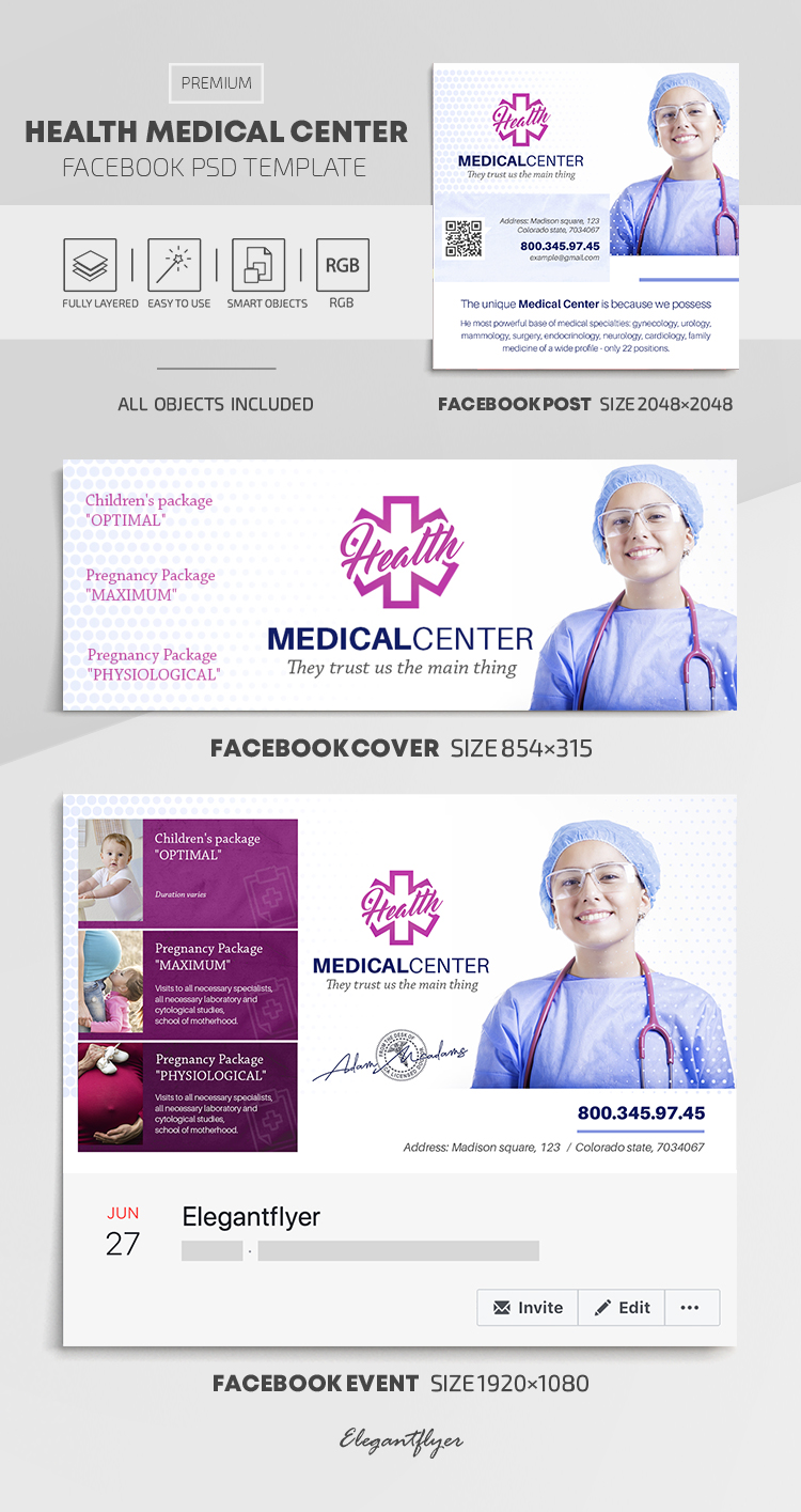 Health Medical Center – Facebook Cover Template in PSD + Post + Event cover