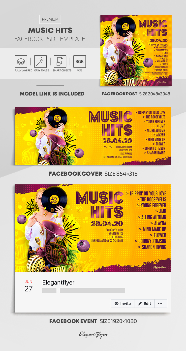 Music Hits – Facebook Cover Template in PSD + Post + Event cover