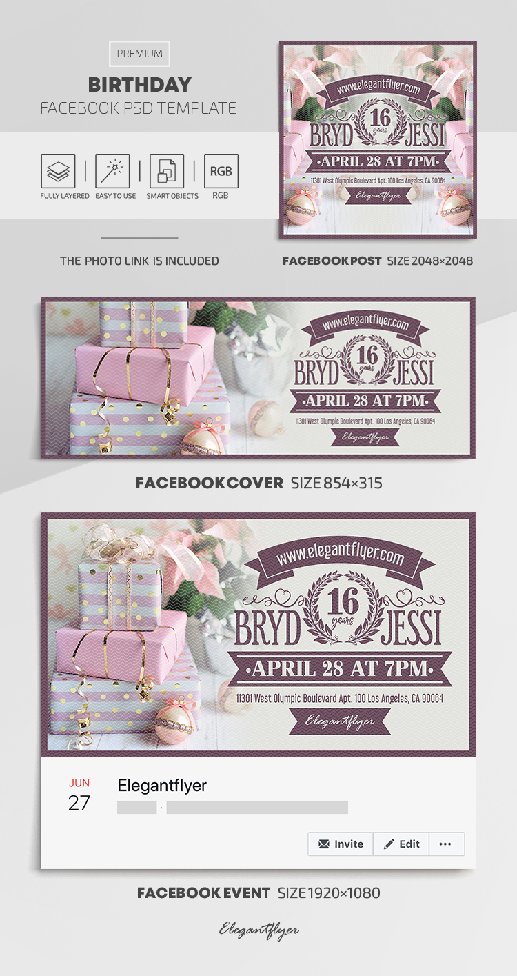 Birthday – Facebook Cover Template in PSD + Post + Event cover