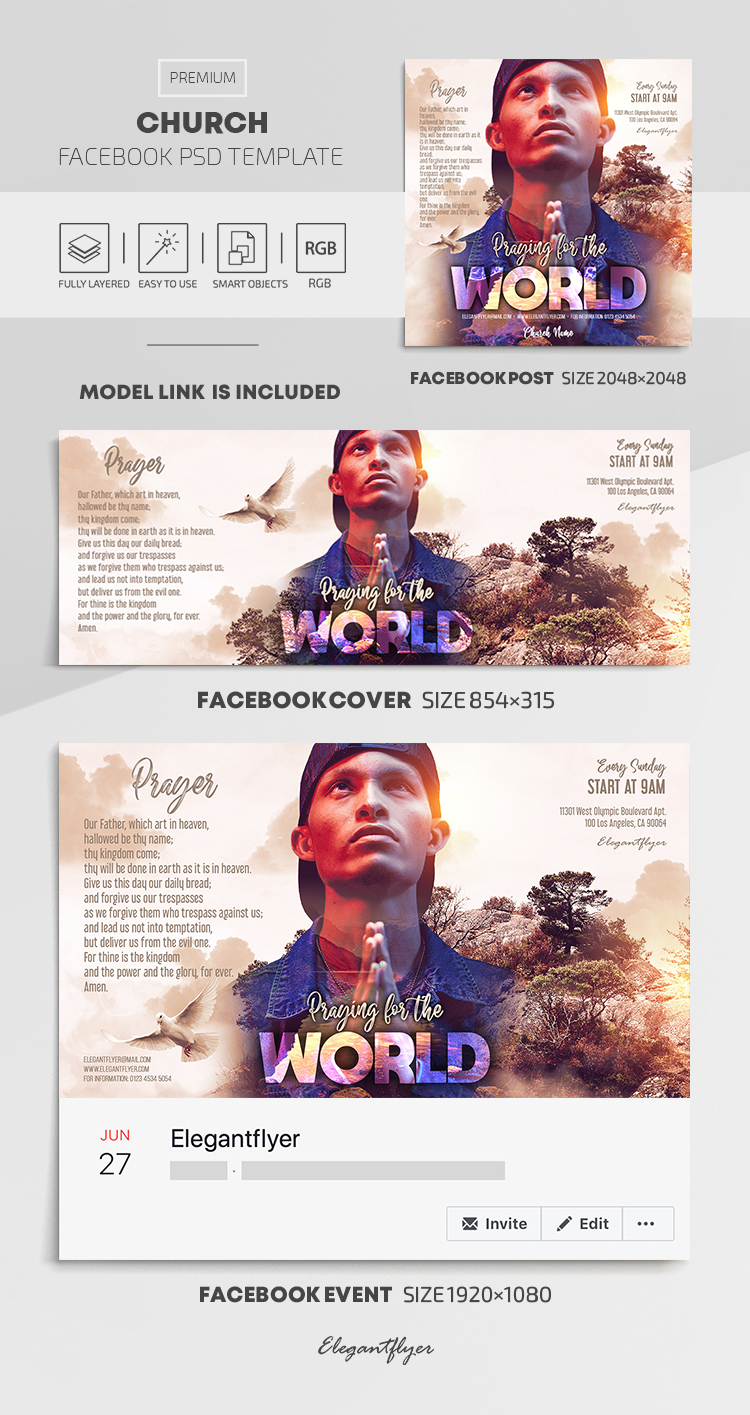 Church – Facebook Cover Template in PSD + Post + Event cover