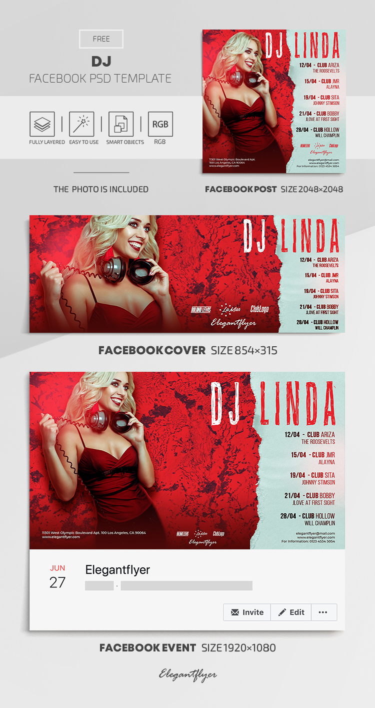 DJ – Free Facebook Cover Template in PSD + Post + Event cover