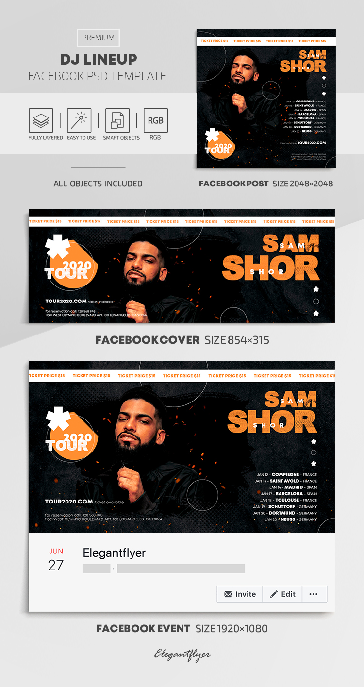 Dj Lineup – Facebook Cover Template in PSD + Post + Event cover