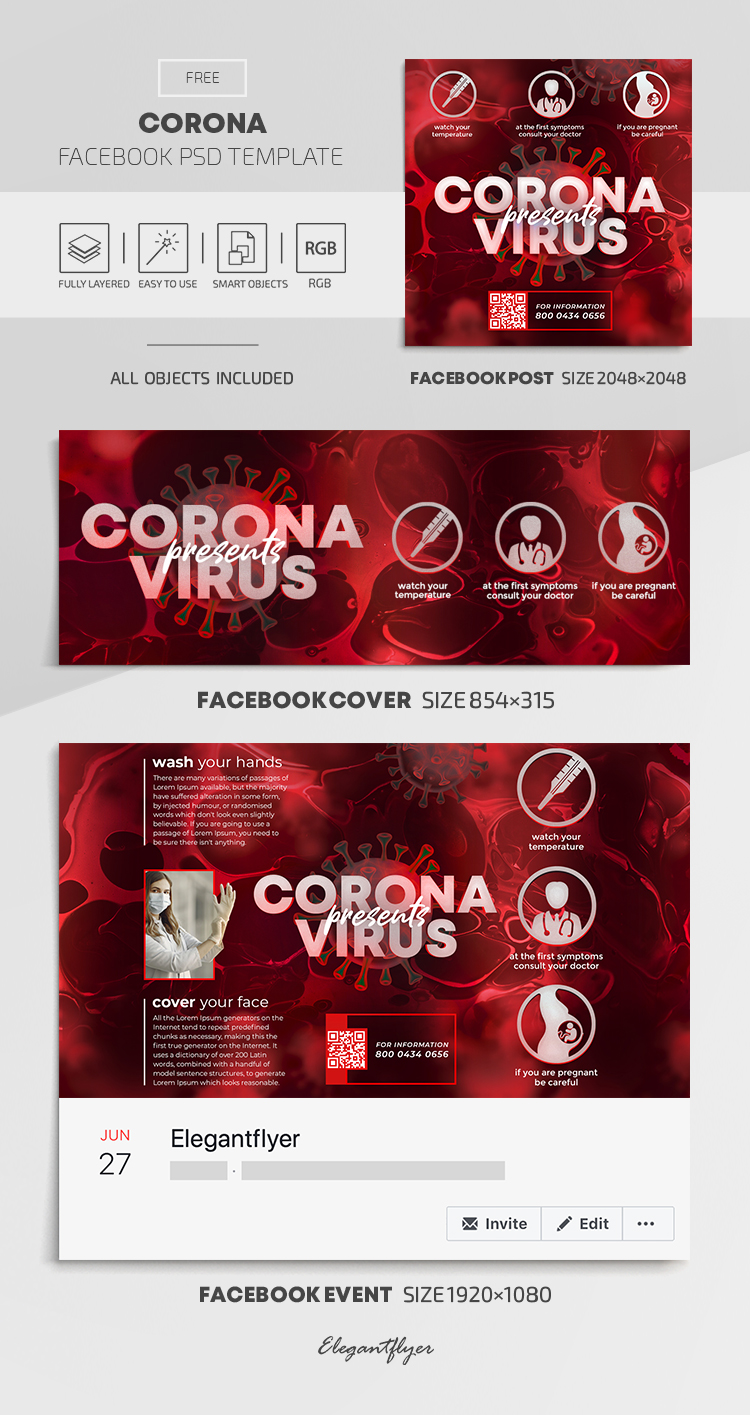 Corona – Free Facebook Cover Template in PSD + Post + Event cover
