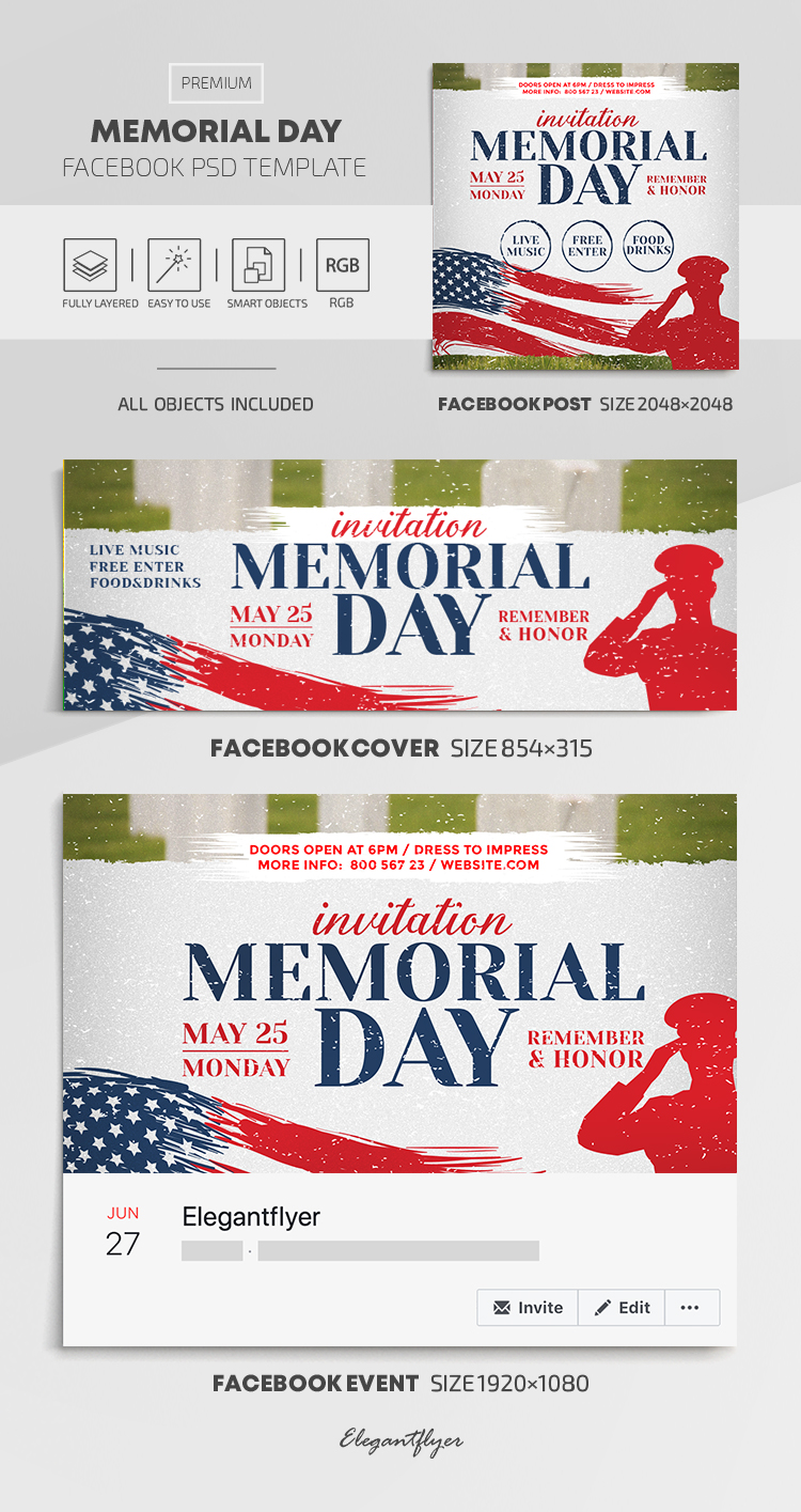 Memorial Day – Facebook Cover Template in PSD + Post + Event cover