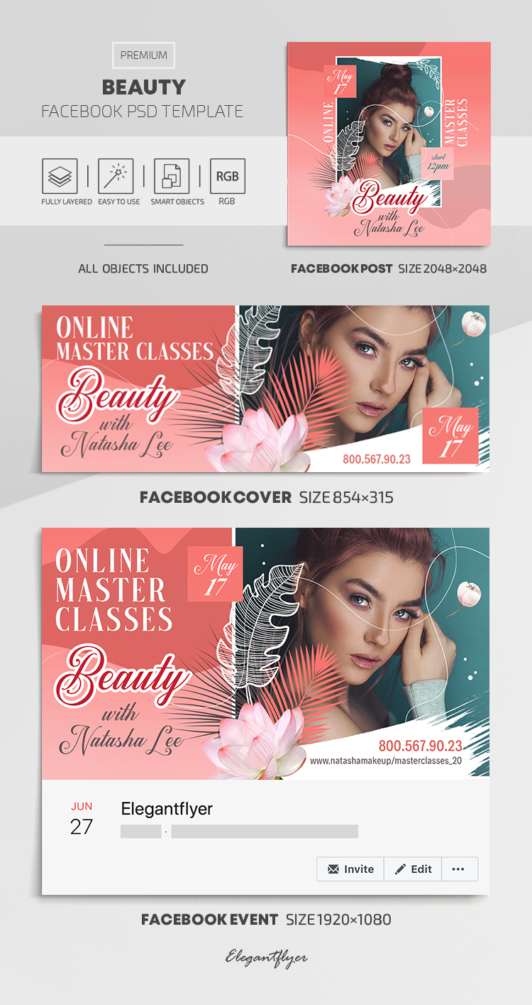 Beauty – Facebook Cover Template in PSD + Post + Event cover
