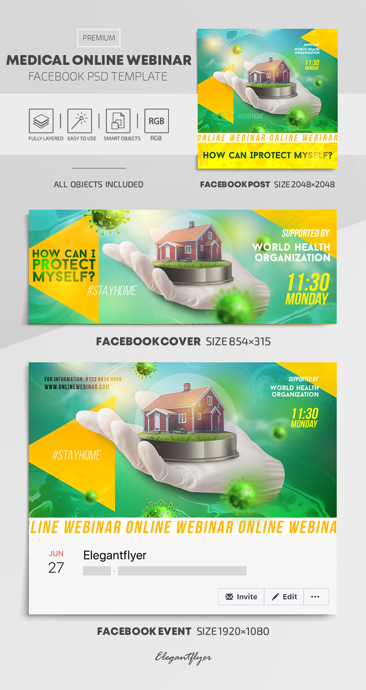 Medical Online Webinar – Facebook Cover Template in PSD + Post + Event cover