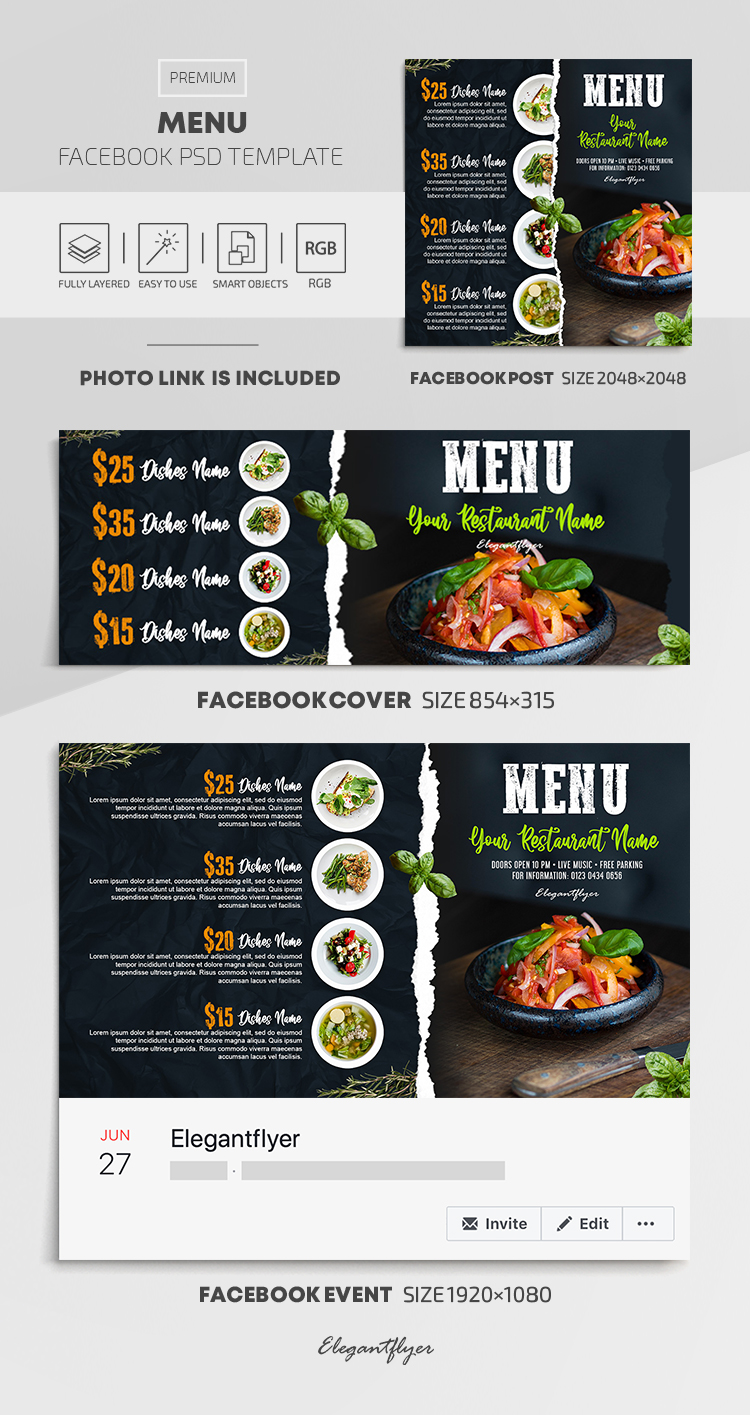 Menu – Facebook Cover Template in PSD + Post + Event cover