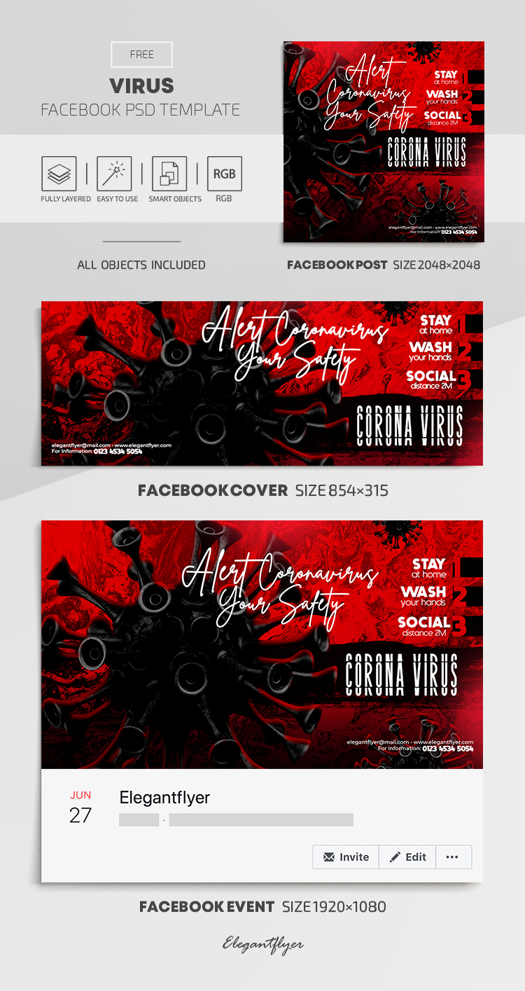 Virus – Free Facebook Cover Template in PSD + Post + Event cover