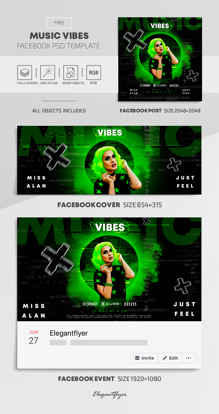 Music Vibes – Free Facebook Cover Template in PSD + Post + Event cover