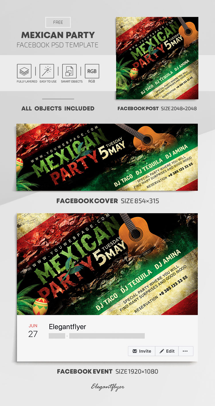 Mexican Party – Free Facebook Cover Template in PSD + Post + Event cover