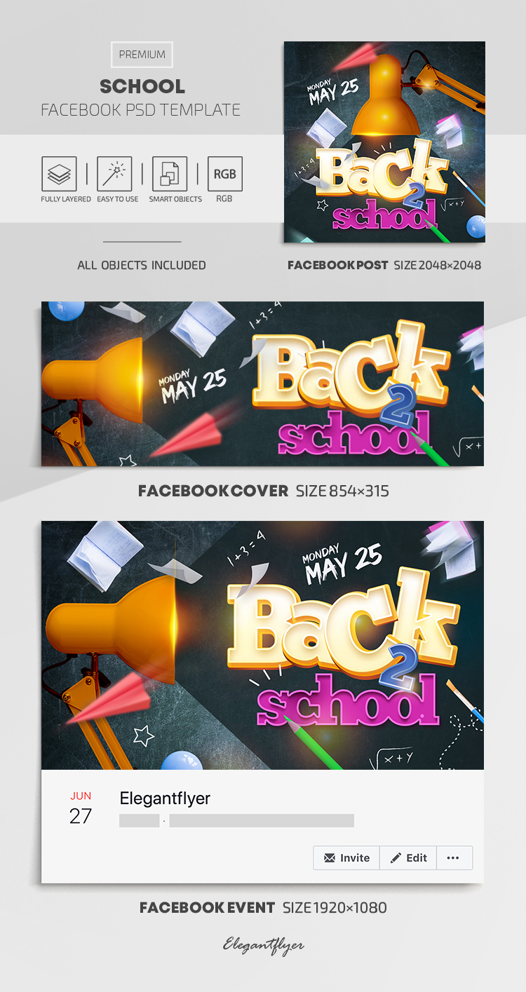 School – Facebook Cover Template in PSD + Post + Event cover