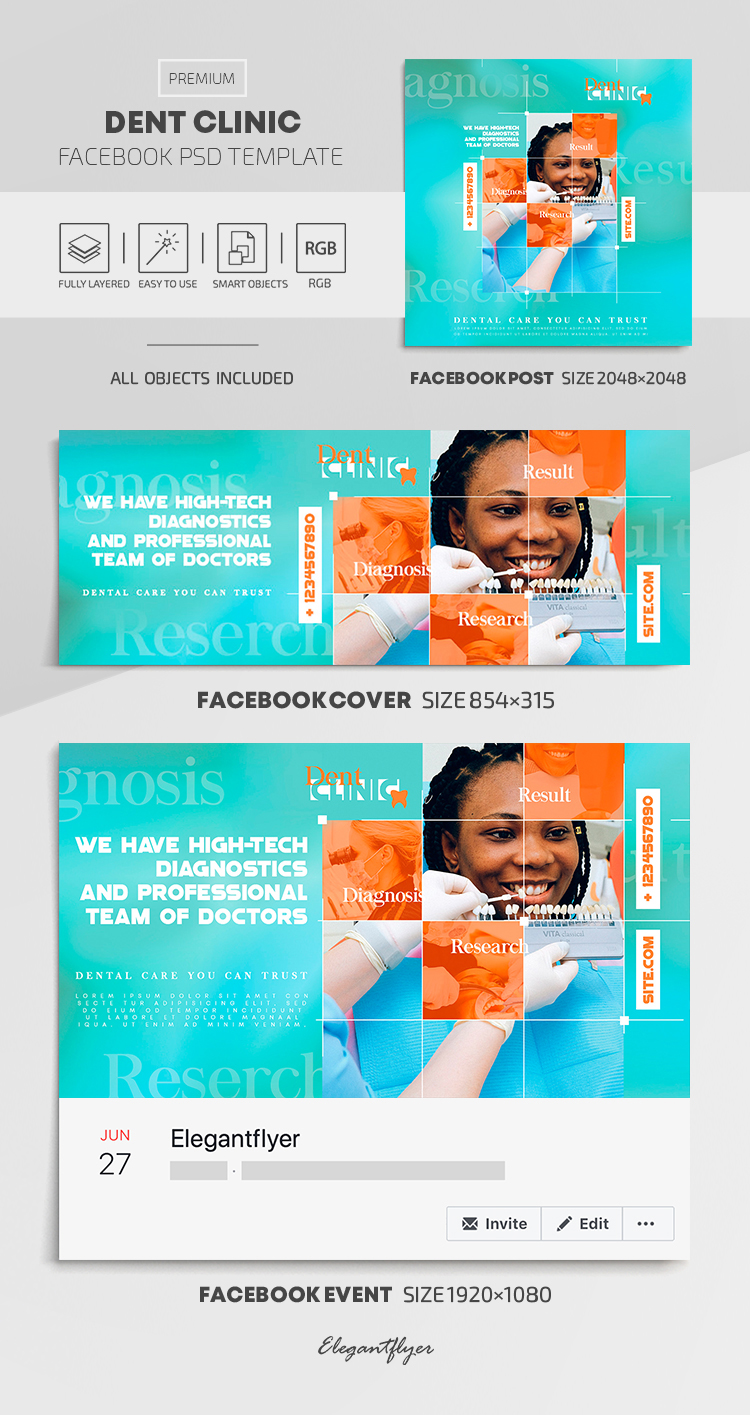 Dent Clinic – Facebook Cover Template in PSD + Post + Event cover