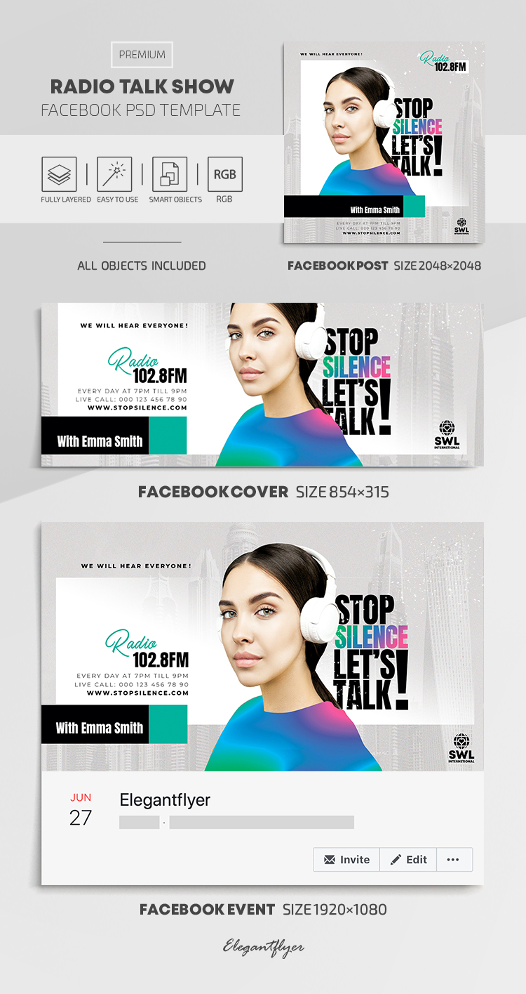 Radio Talk Show – Facebook Cover Template in PSD + Post + Event cover