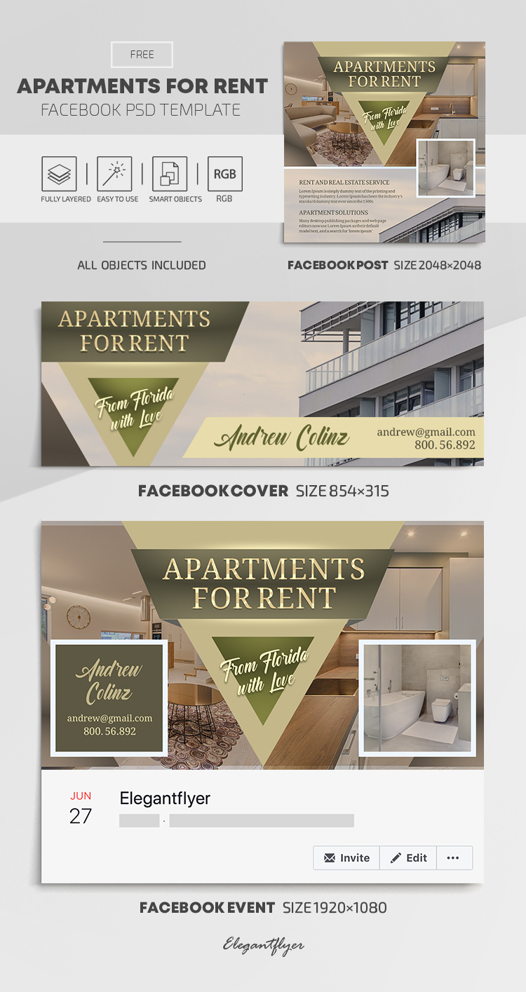 Apartments For Rent – Free Facebook Cover Template in PSD + Post + Event cover