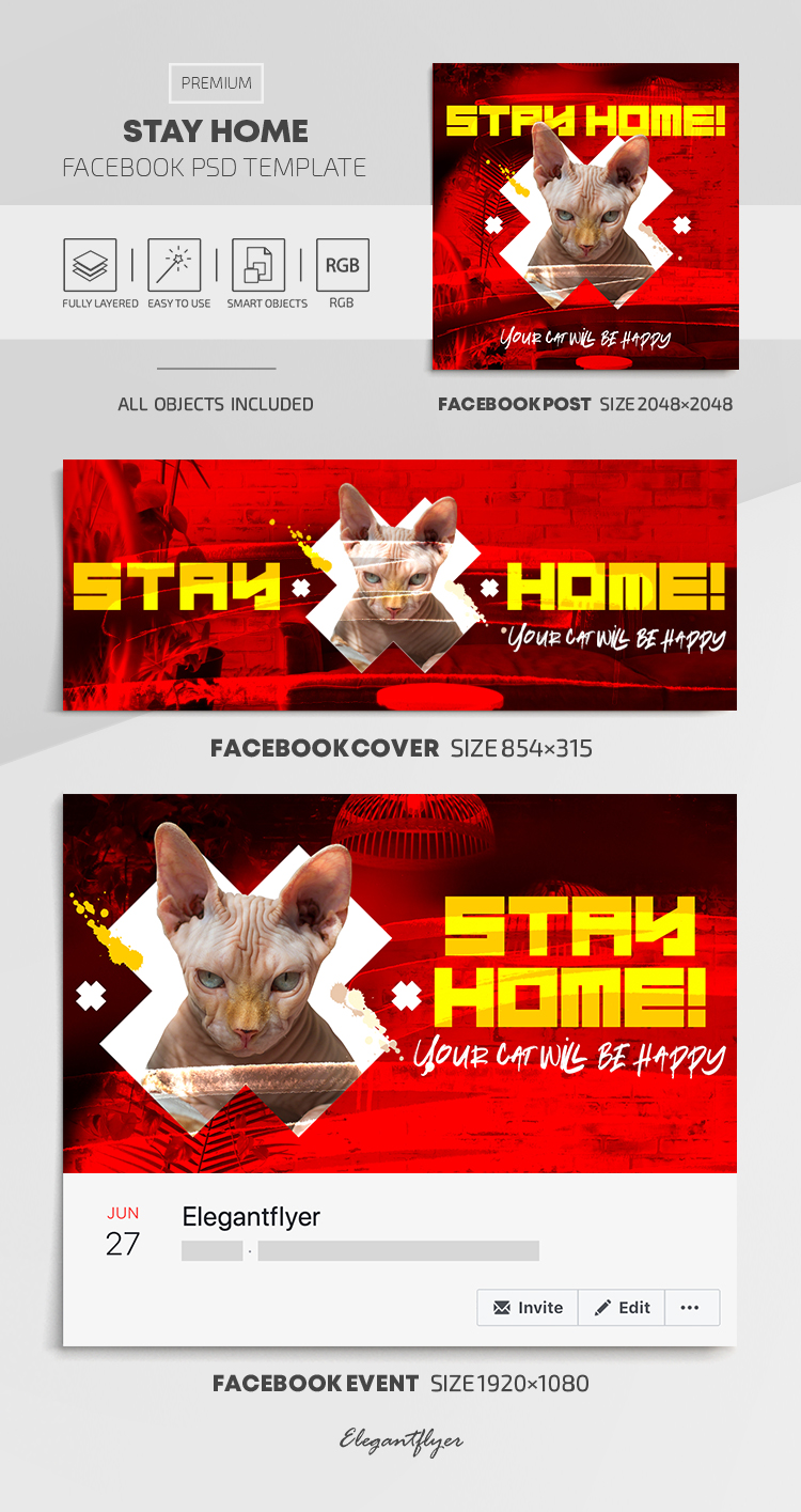 Stay Home – Facebook Cover Template in PSD + Post + Event cover