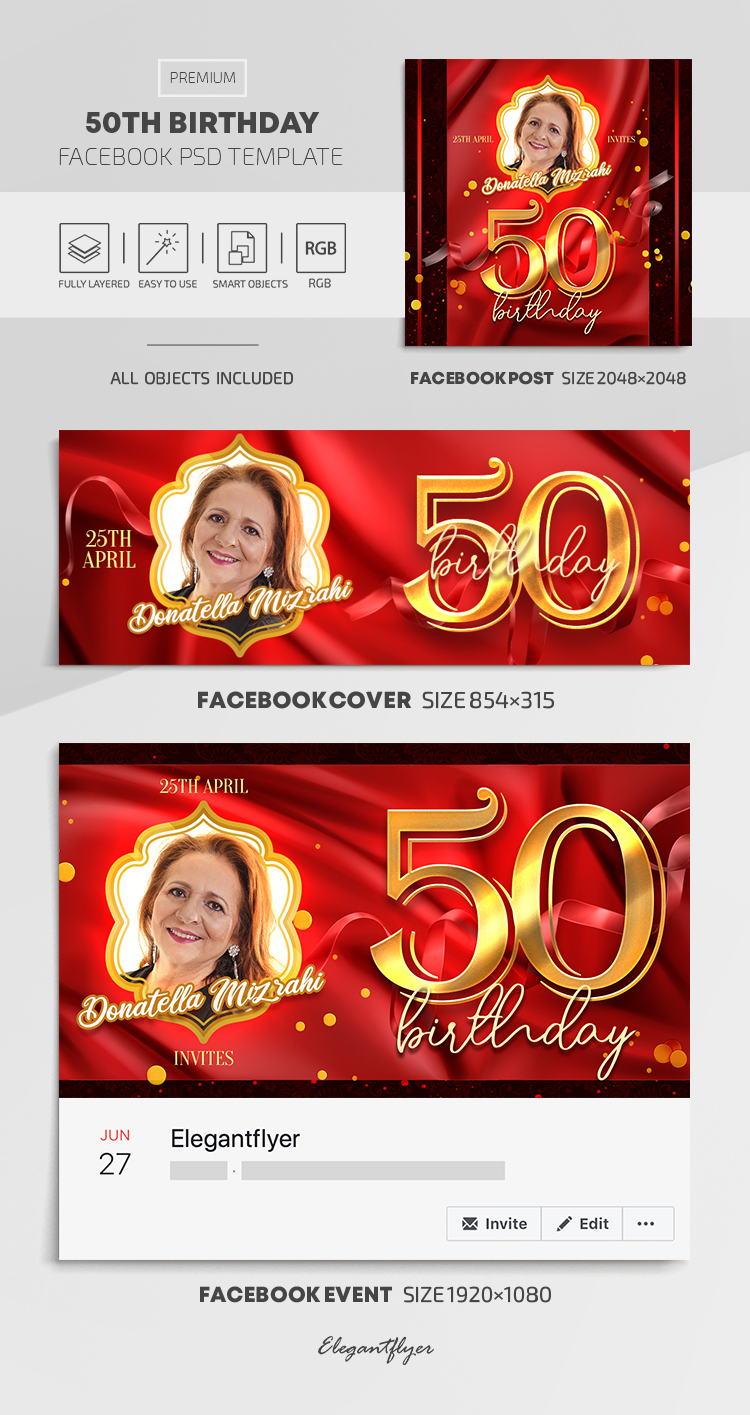 50th Birthday – Facebook Cover Template in PSD + Post + Event cover