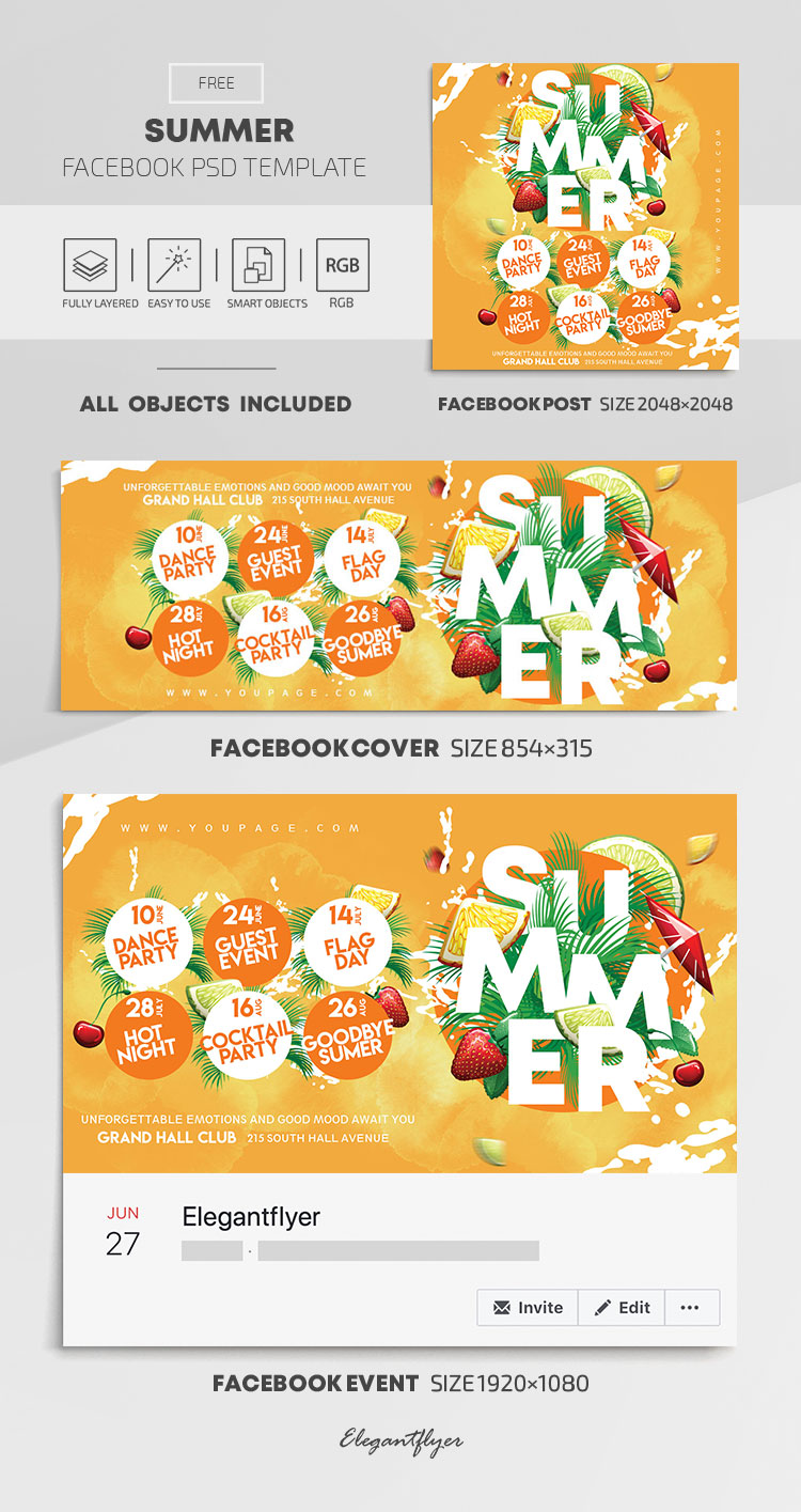 Summer – Free Facebook Cover Template in PSD + Post + Event cover