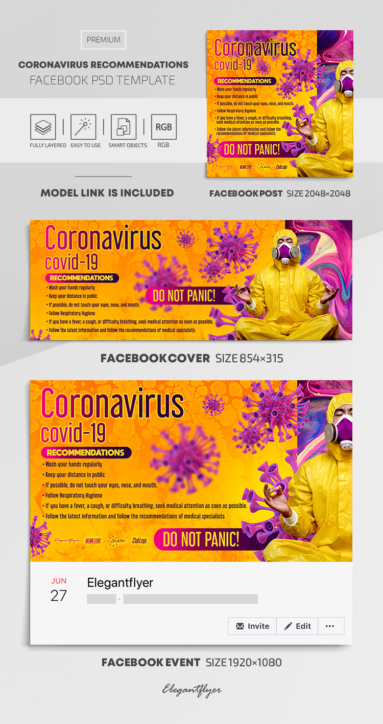 Coronavirus Recommendations – Facebook Cover Template in PSD + Post + Event cover