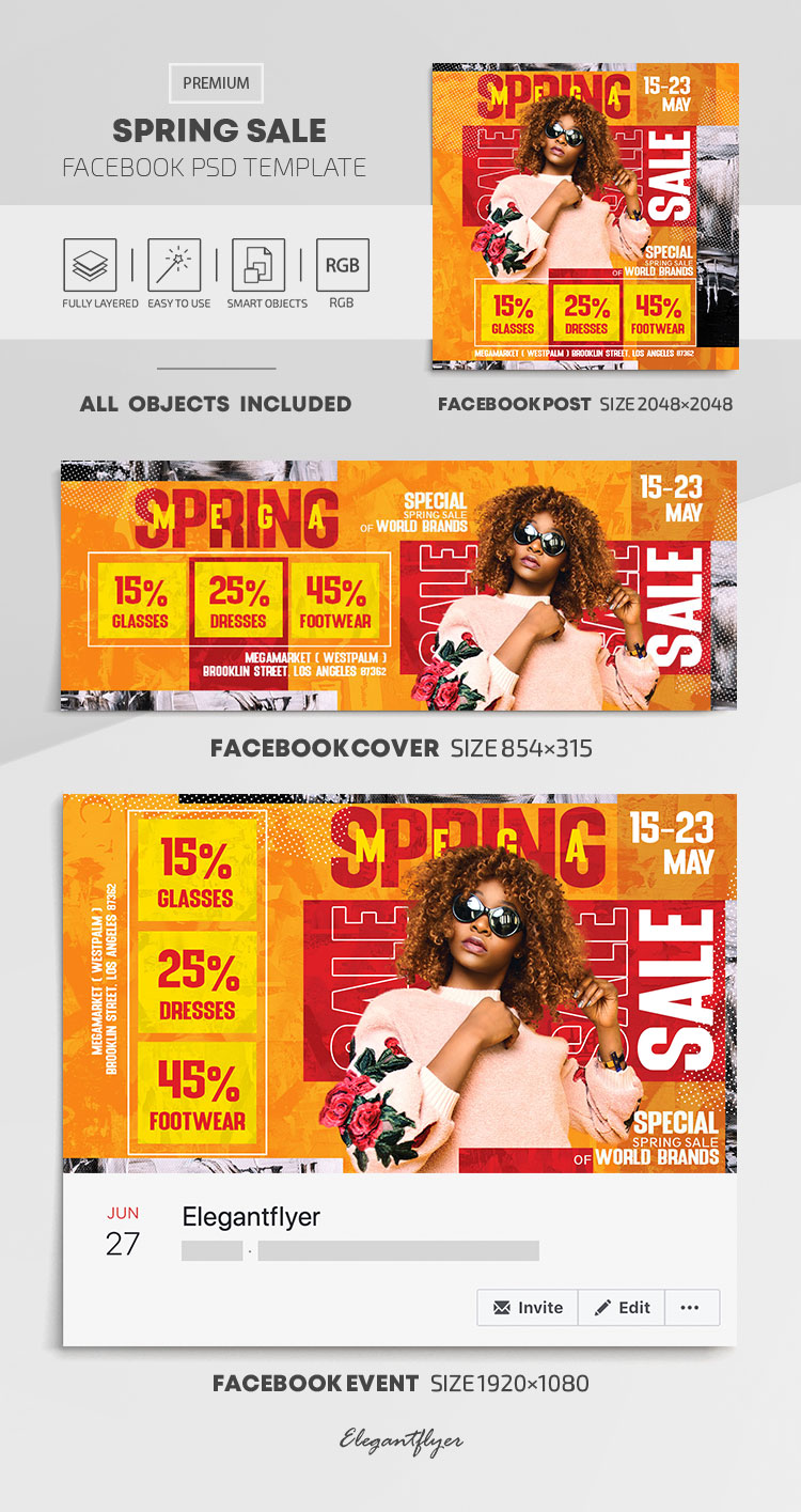 Spring Sale – Facebook Cover Template in PSD + Post + Event cover