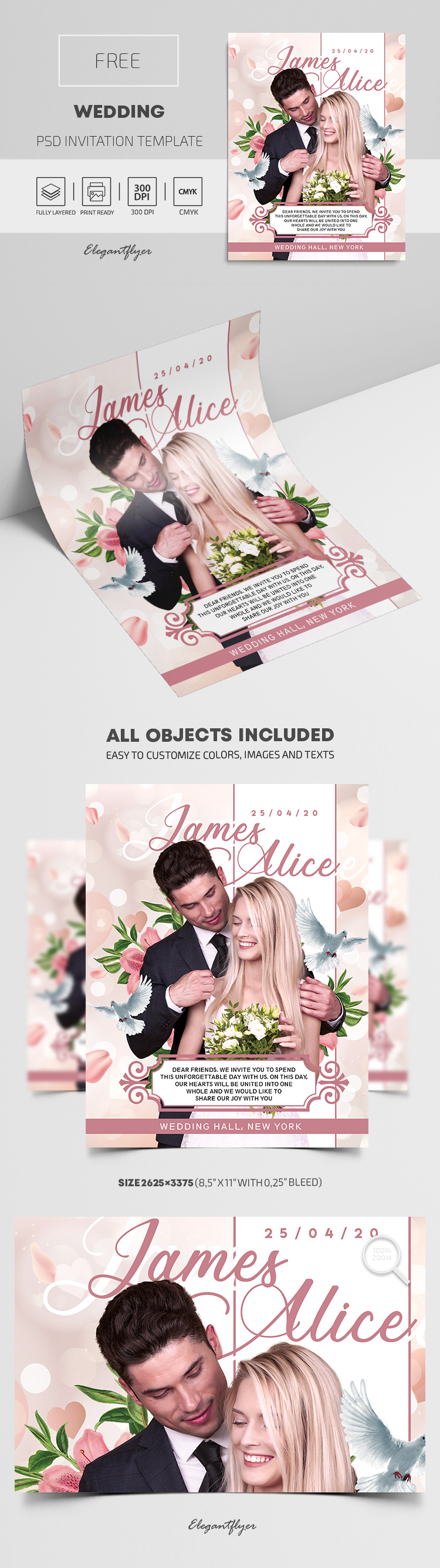 Wedding – Free PSD Invitation Template