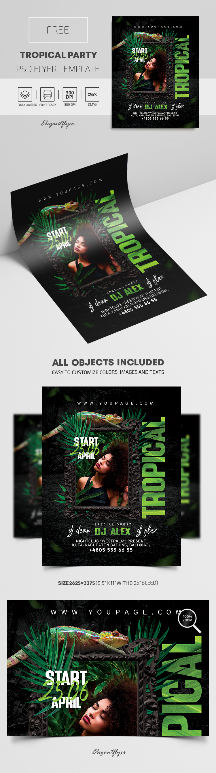 Tropical Party – Free PSD Flyer Template