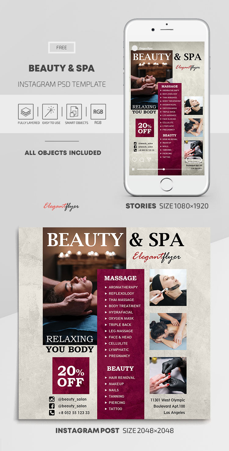Beauty and Spa – Free Instagram Stories Template in PSD + Post Templates