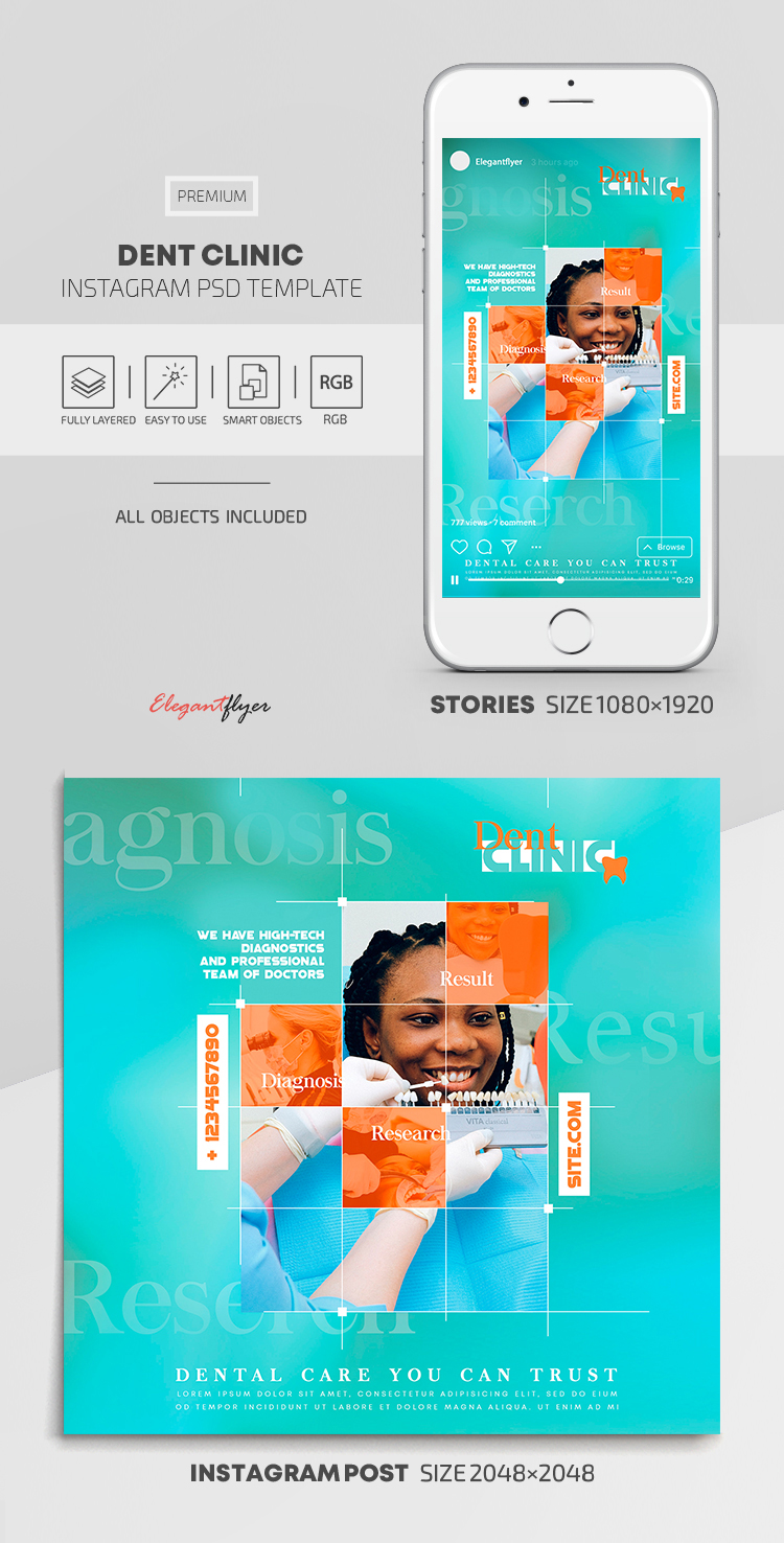 Dent Clinic – Instagram Stories Template in PSD + Post Templates