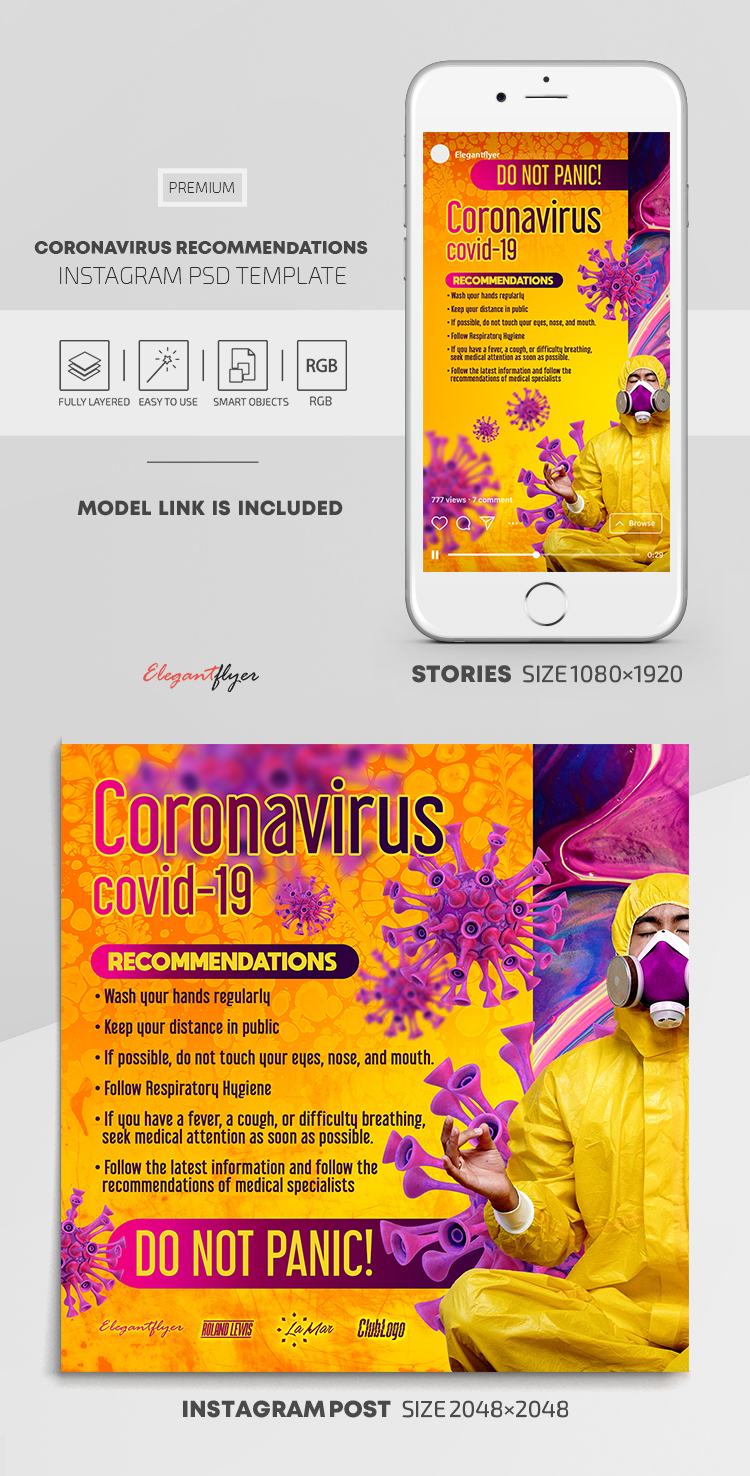 Coronavirus Recommendations – Instagram Stories Template in PSD + Post Templates