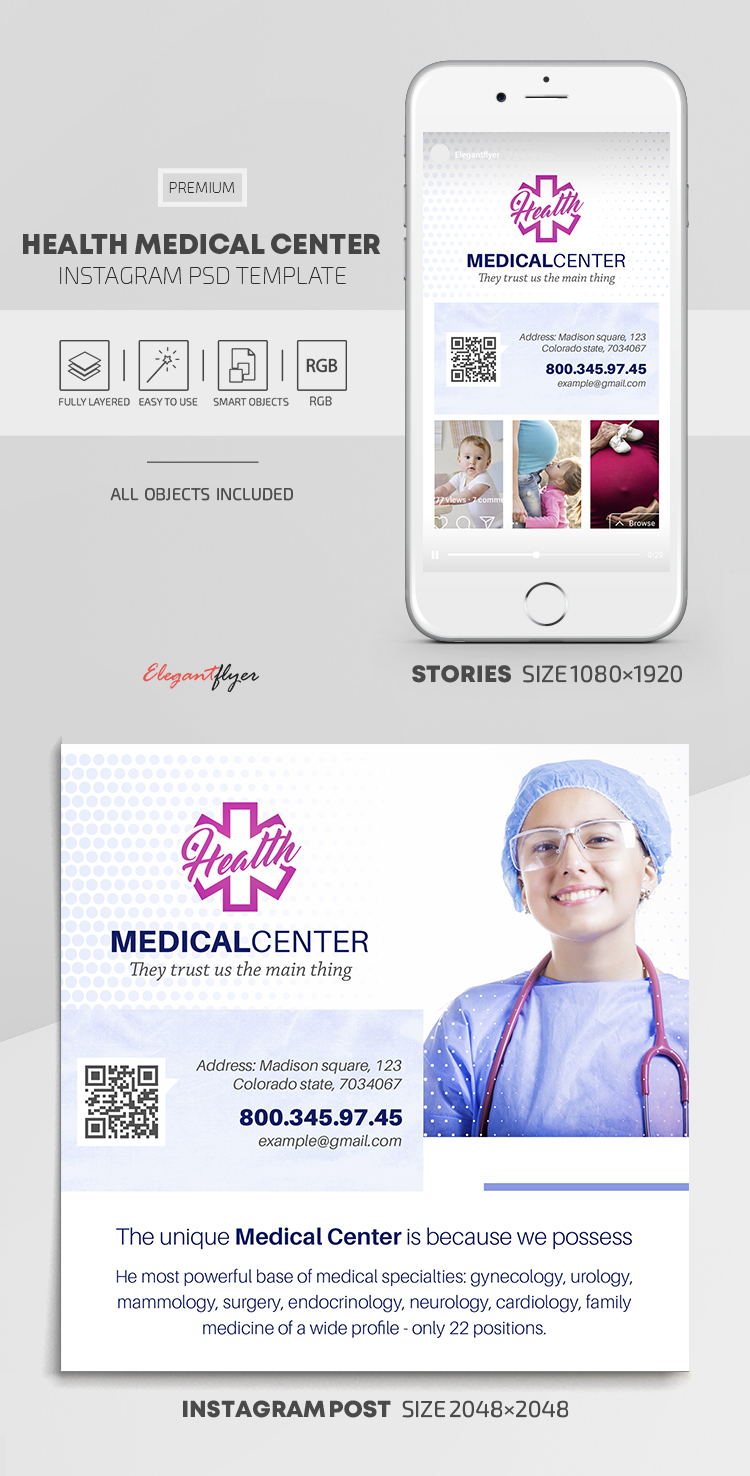 Health Medical Center – Instagram Stories Template in PSD + Post Templates